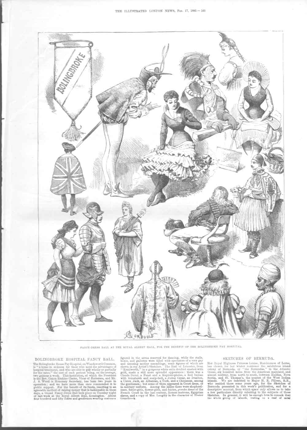 [Print Fancy Dress Ball In Aid Hollingbroke Pay Hospital 1883 3165A376 Old Original]