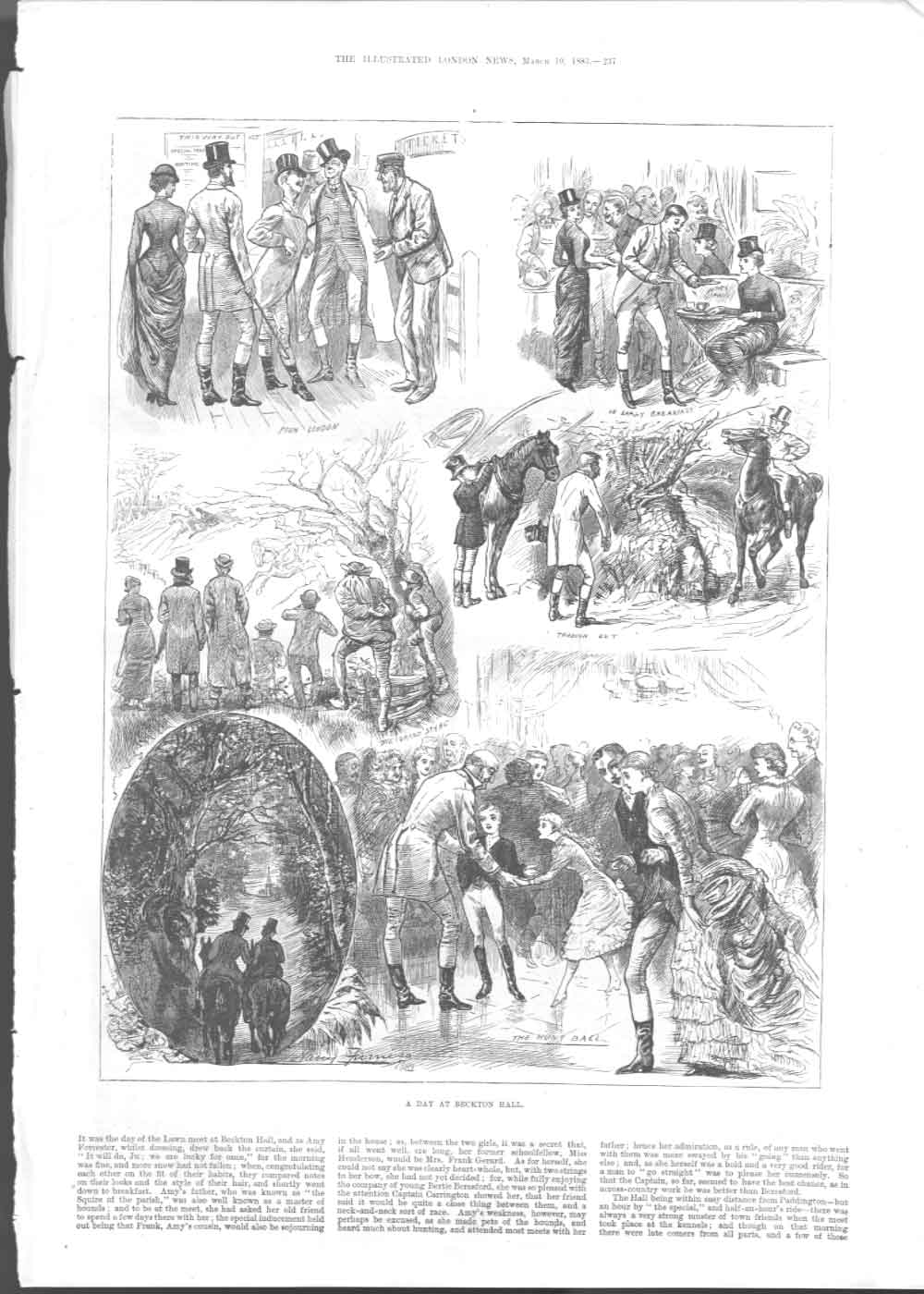 [Print A Day Fox Hunting Beckton Hall 1883 3A2Aa376 Old Original]