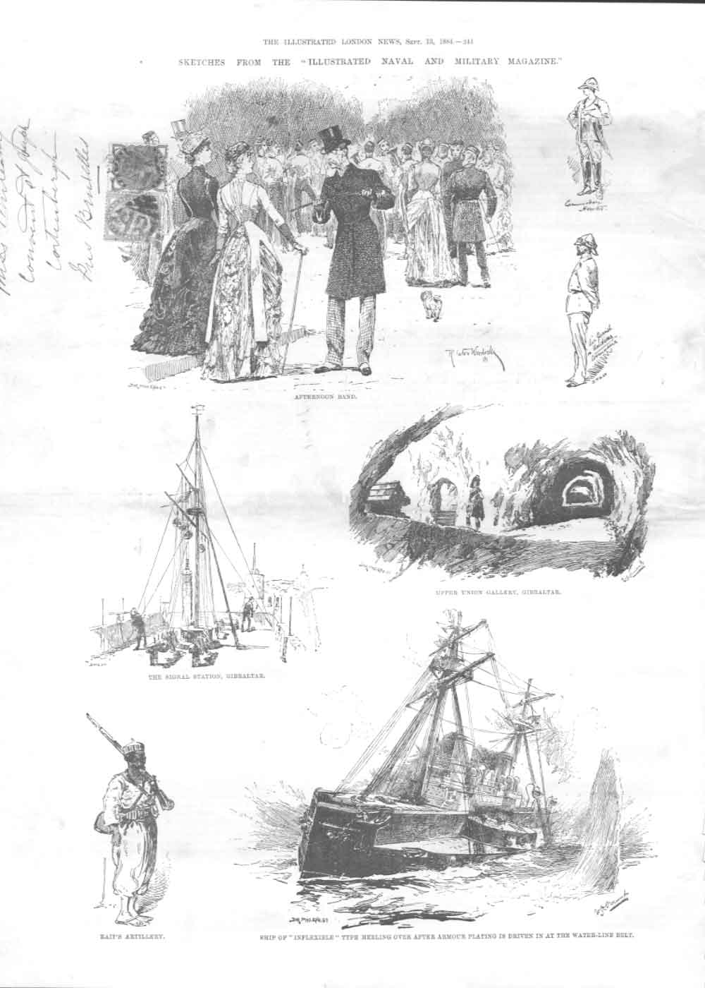 [Print Sketches From Naval Magazine Ships Etc 1884 A244A376 Old Original]
