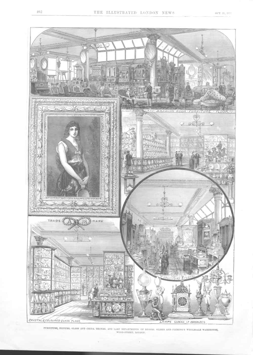 [Print Silber & Flemings Glass China Wood St London 1884 40A2A376 Old Original]