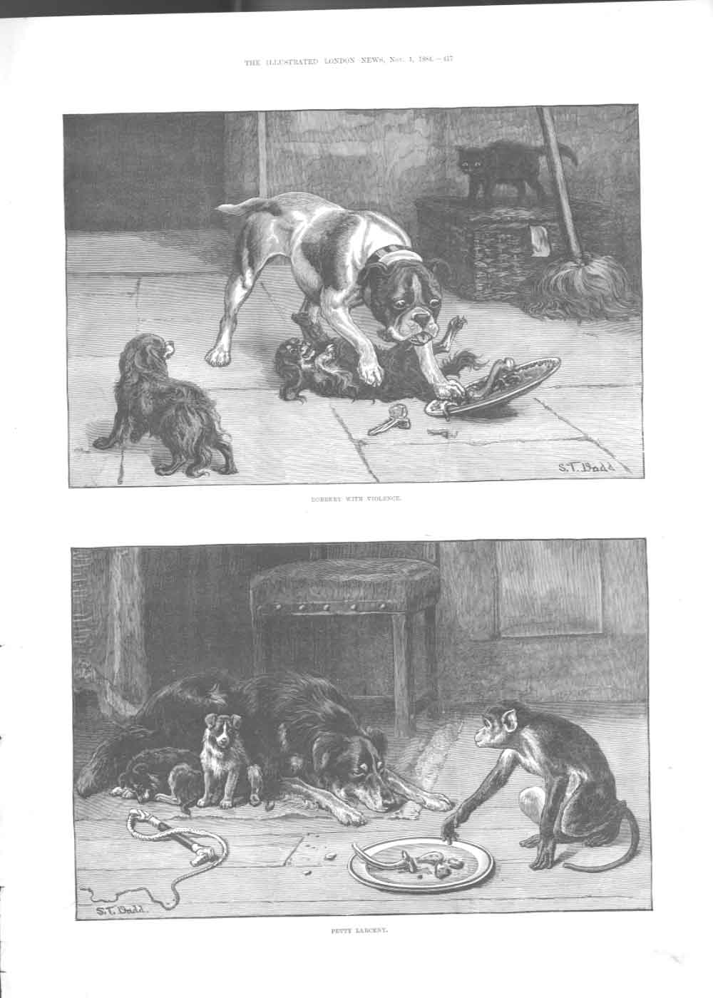[Print Robbery Withviolence Petty Larceny Dogs Fine Art1884 4A17A376 Old Original]