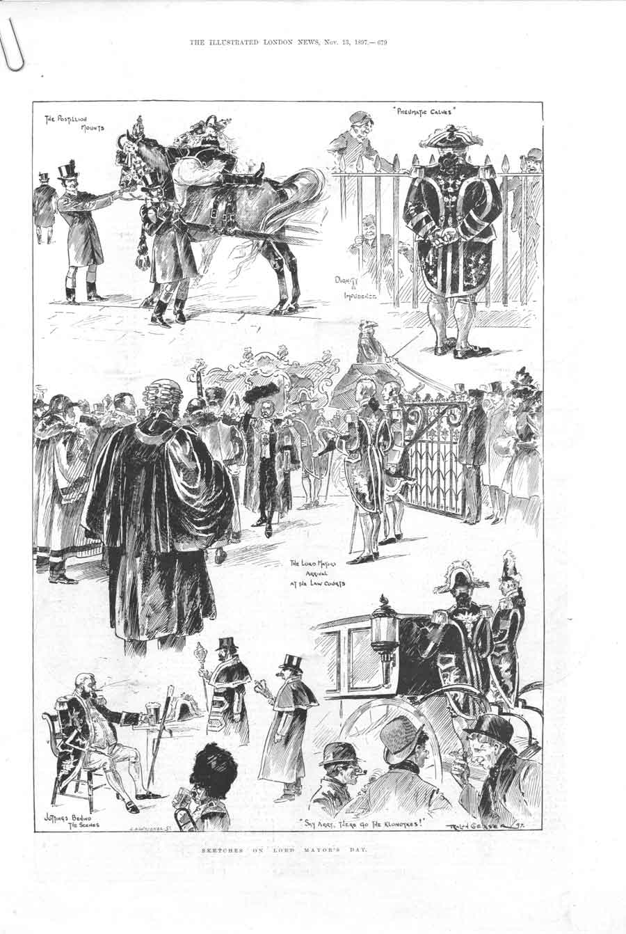 [Print Sketches In London On Lord Mayors Day 1897 679Aa376 Old Original]