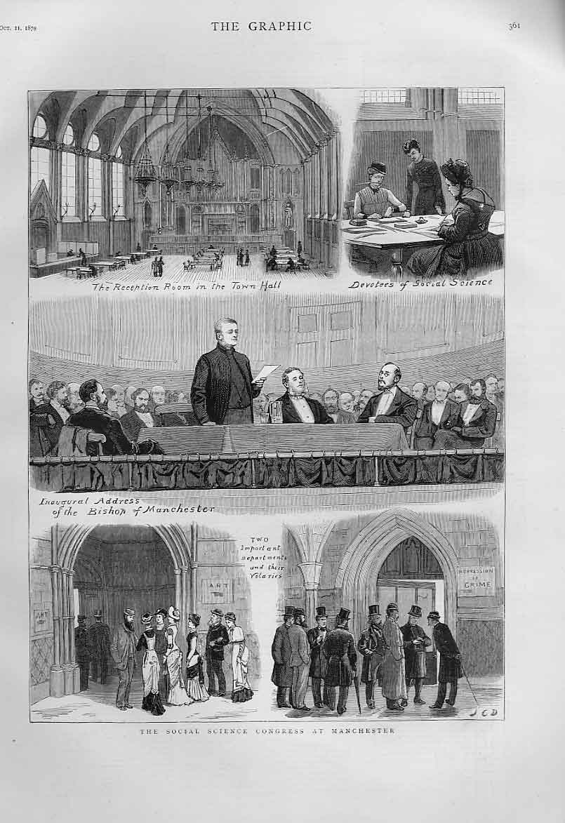[Print The Social Science Cpoongress At Manchester 1879 A361A416 Old Original]
