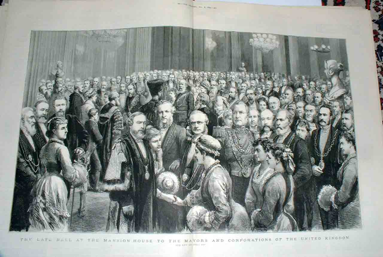 [Print Mayors Ball Mansion House 1879 451Ta416 Old Original]