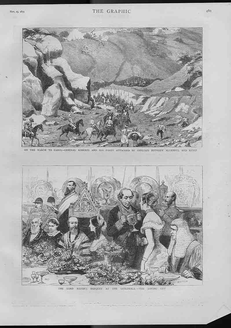 [Print Gen Roberts March To Cabul & Loving Cup Mayors B 469A416 Old Original]