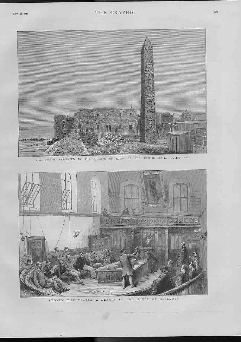 [Print Debate In House Assembly Sidney Australia 1879 501A416 Old Original]