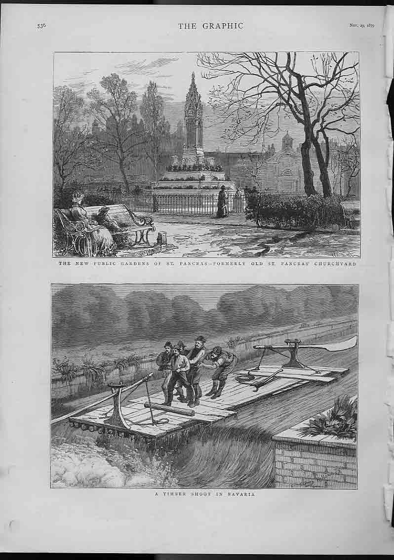 [Print Gardens St Pancras & Timber Shoot Bavaria 5A36A416 Old Original]