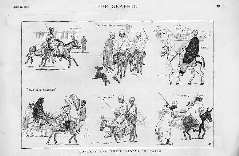 [Print Donkeys And Riders In Cairo 1883 Egypt 30A2A416 Old Original]