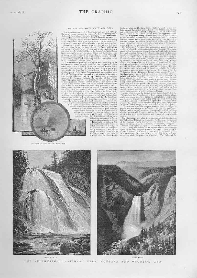 [Print Yellowstone National Park Montana & Wyoming Usa 1883 3A17A416 Old Original]