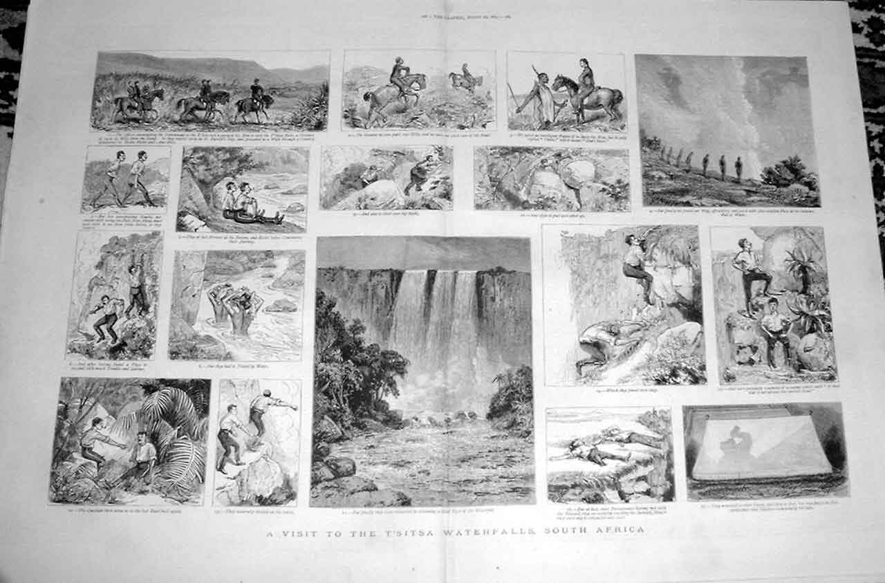 [Print T'Sita Waterfalls S Africa 1883 3187A416 Old Original]