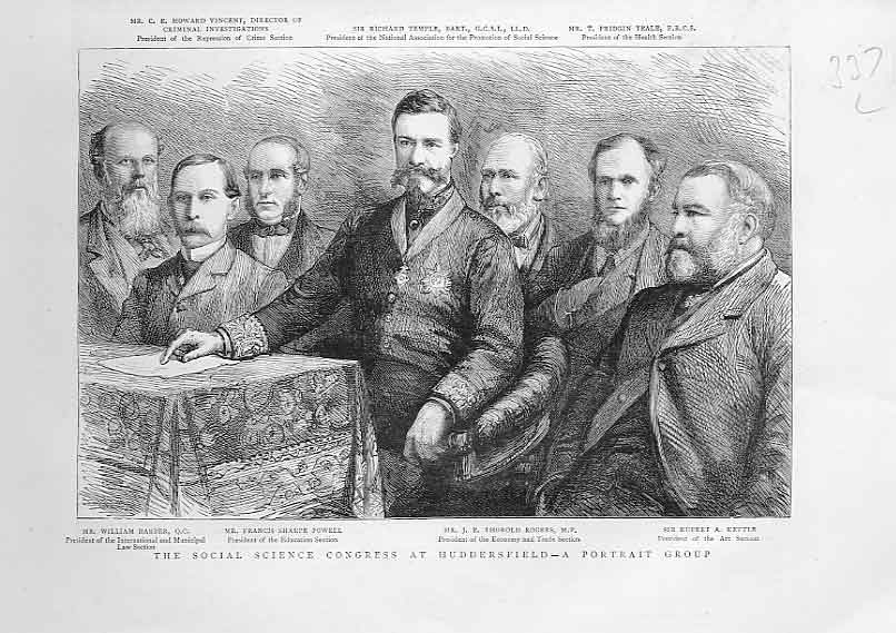 [Print Social Science Congress Group Portrait 1883 Huddersfiel 3A3Aa416 Old Original]