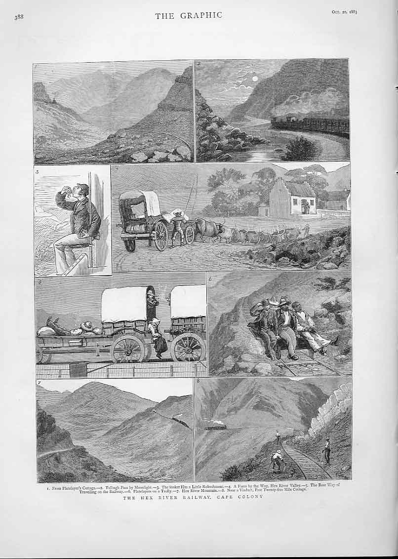[Print Hex River Railway Cape S Africa 1883 3A38A416 Old Original]