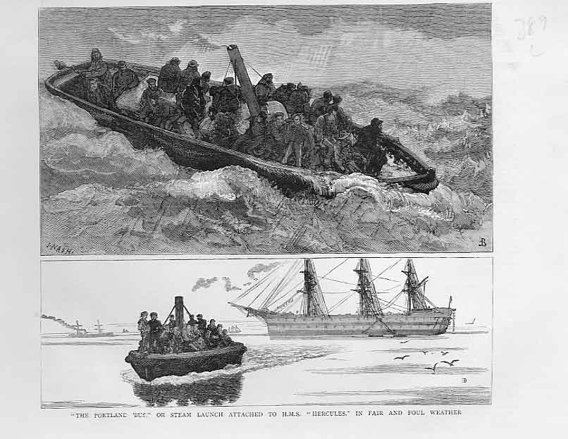 [Print Steam Launch Hms Hercules In Good & Bad Weather Ship 3A38A416 Old Original]