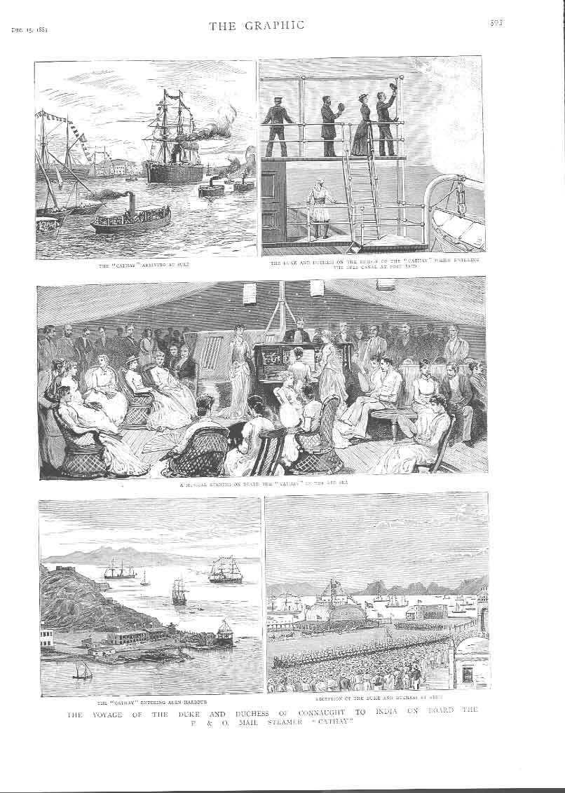 [Print To India On P & O Steamer Cathy 1883 359Aa416 Old Original]