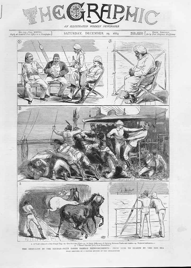 [Print With Baker Pasha'S Reinforcements Suez To Suakim 1883 S 36A3A416 Old Original]