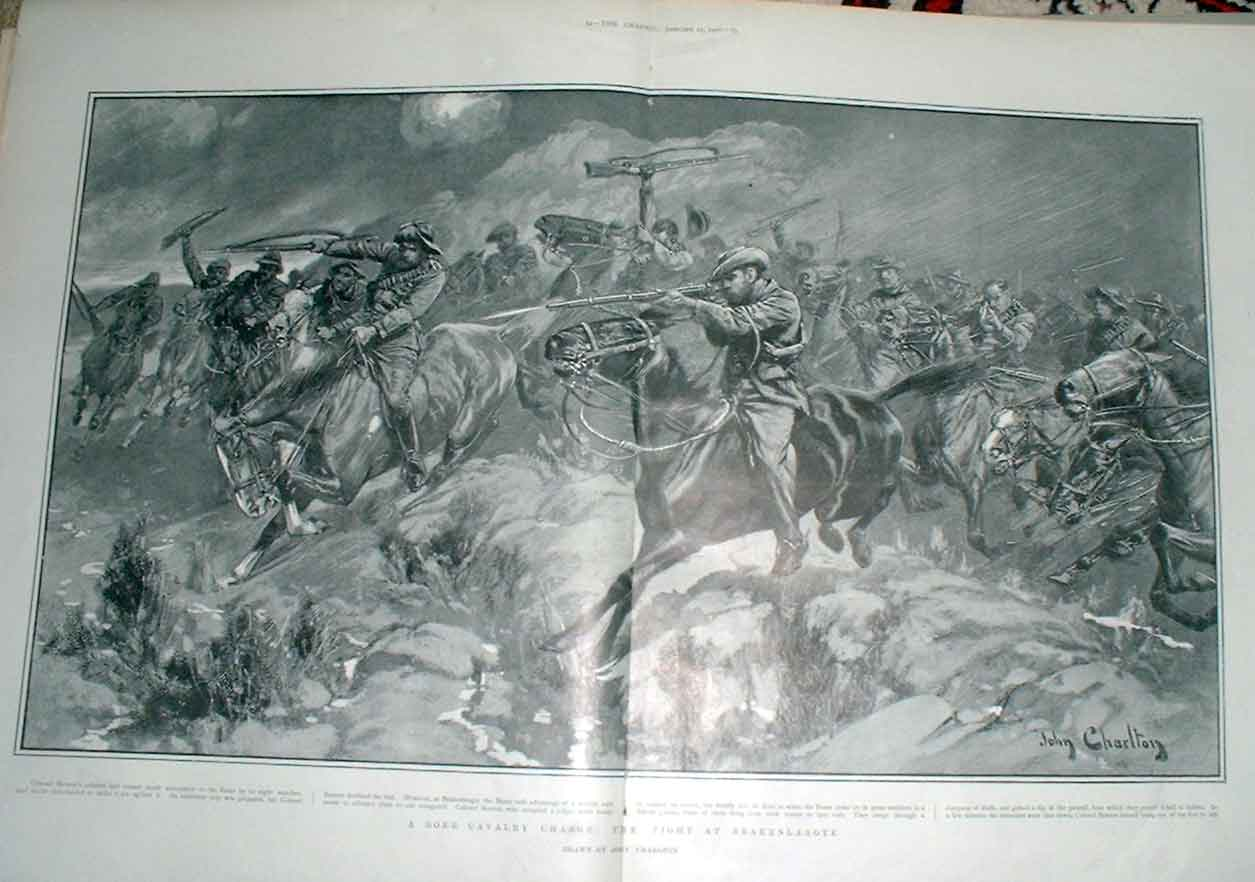 [Print Boer Cavalry Charge At Brakenlaagte S Africa 1902 205Aa416 Old Original]