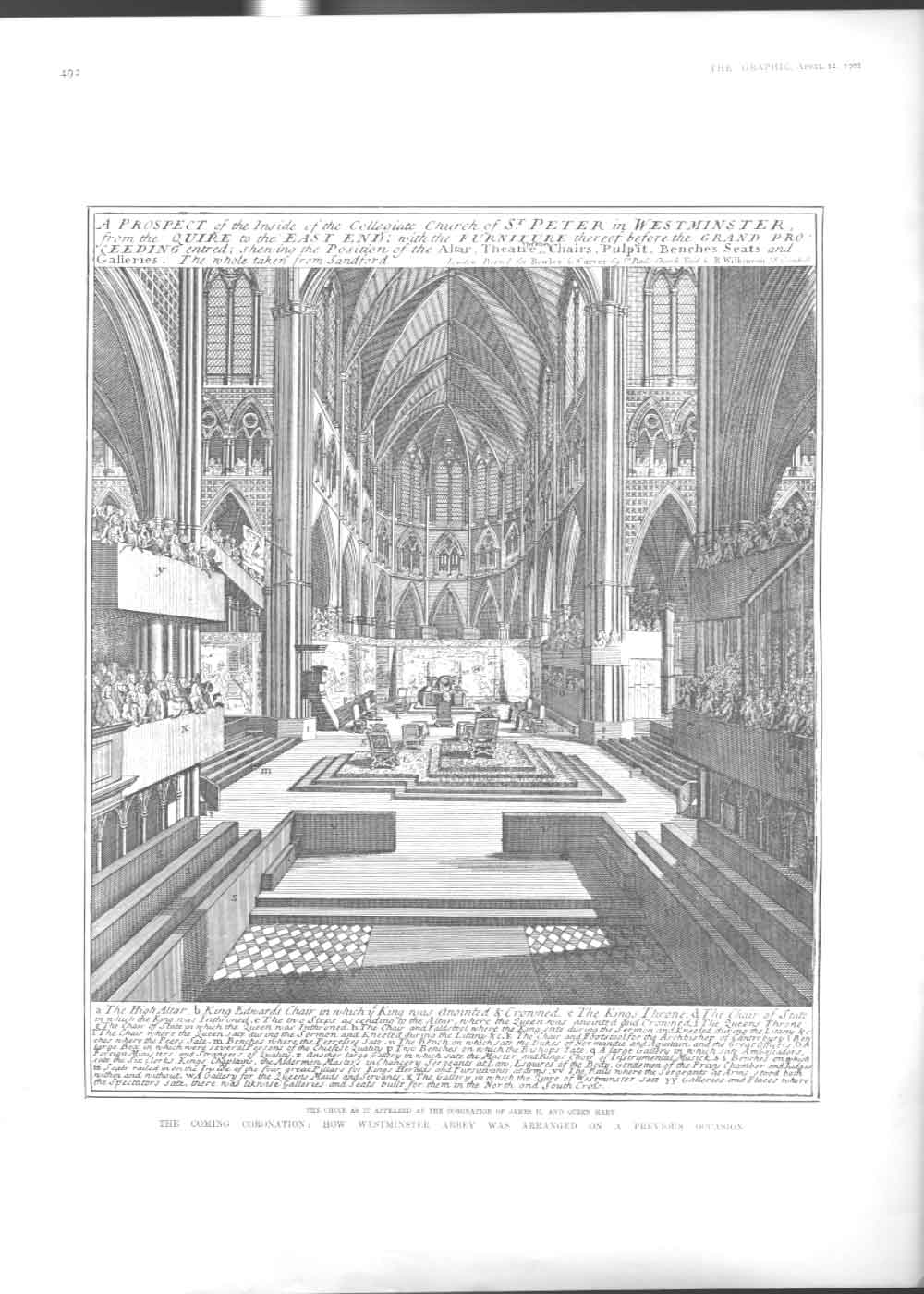 [Print How Westminister Was Arranged On Previous Coronation 249Aa416 Old Original]