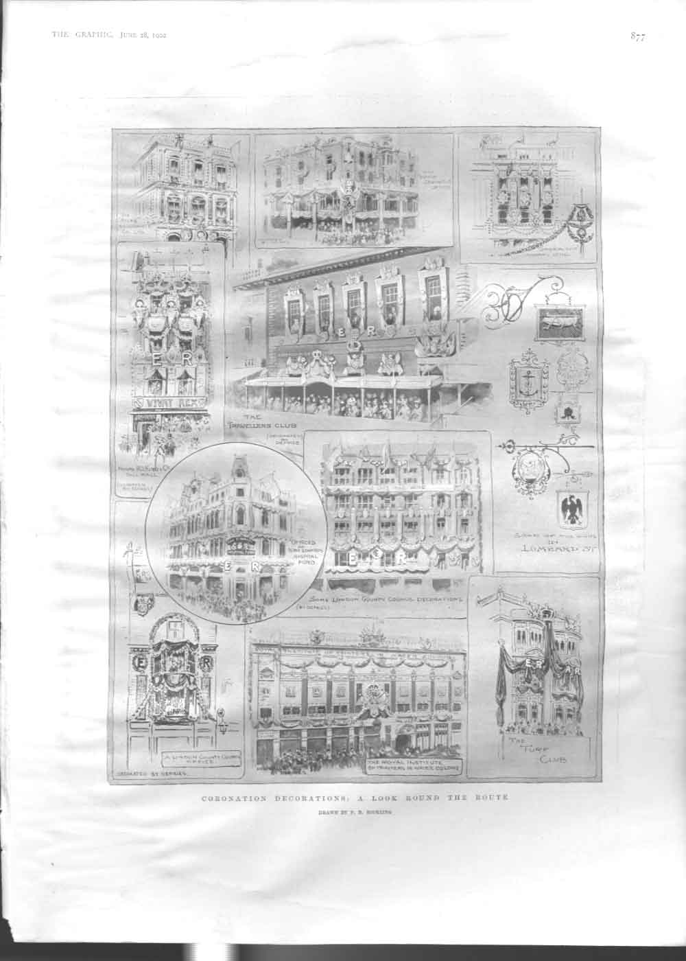 [Print 1902 Coronation Decorations A Look Around Prin 2877A416 Old Original]