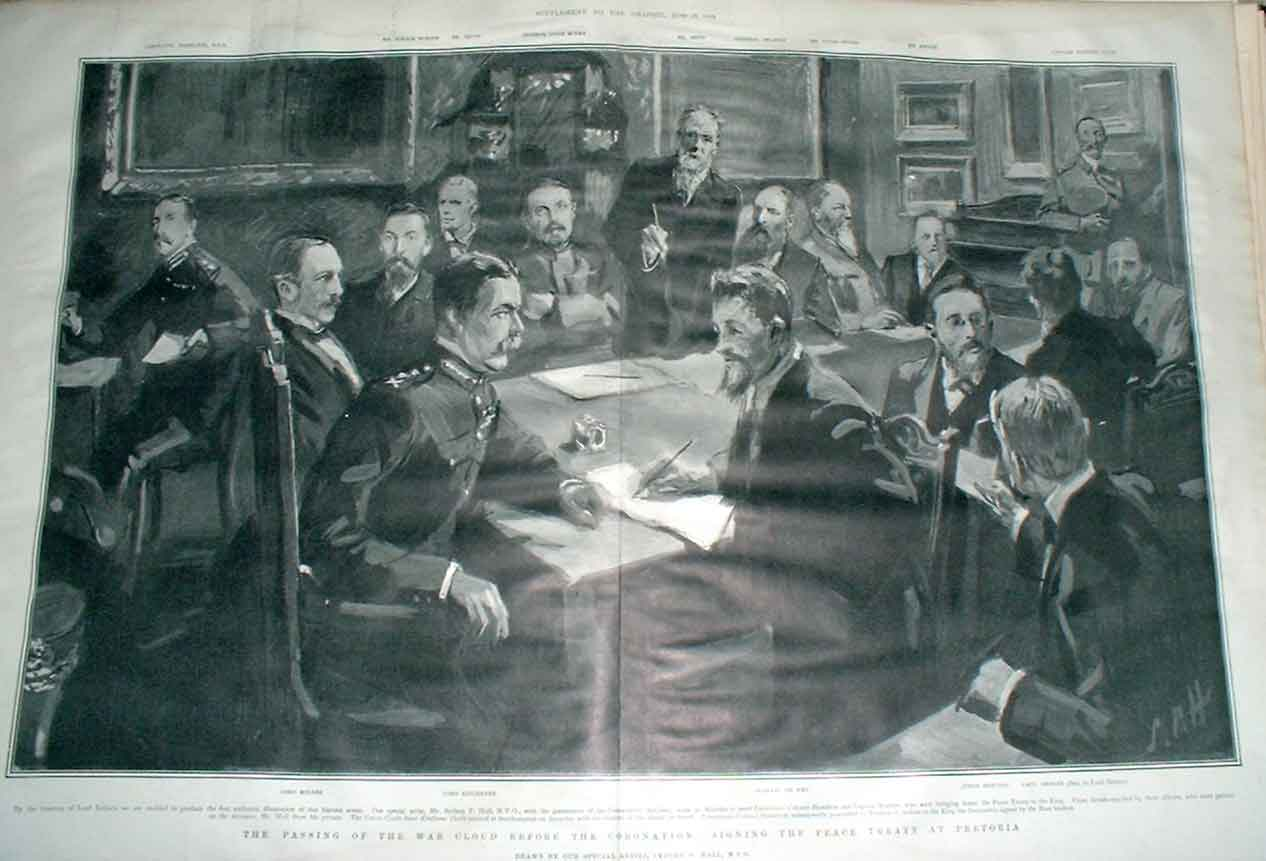 [Print Signing The Peace Treaty In Pretoria S Africa 1902 291Aa416 Old Original]