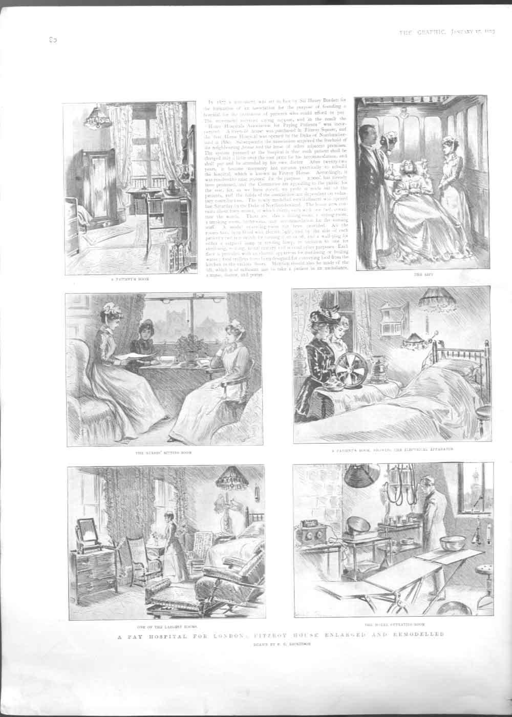 [Print A Pay Hospital In London Fitzroy House 1903 3080A416 Old Original]