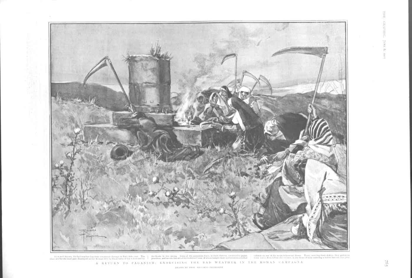 [Print Paganism Exorcising The Weather On Roman Campagna 1903 3765A416 Old Original]