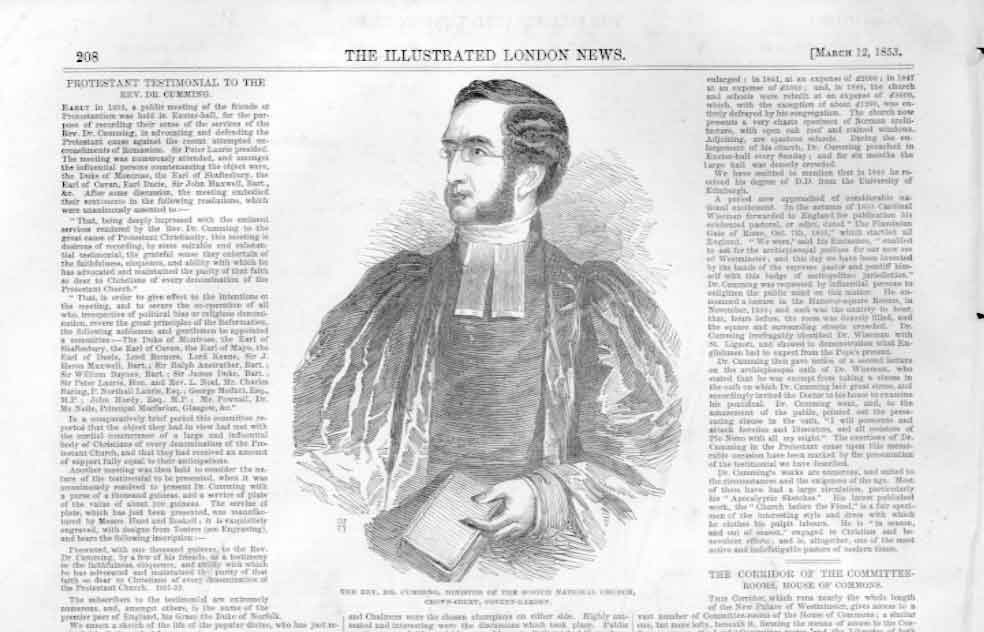 [Print Dr Cumming Minister Scotch National Church 1853 3A20A476 Old Original]