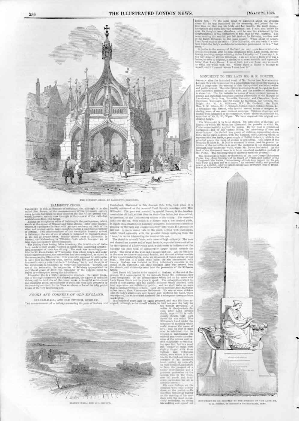 [Print Poultry Cross Salisbury 1853 3A2Aa476 Old Original]