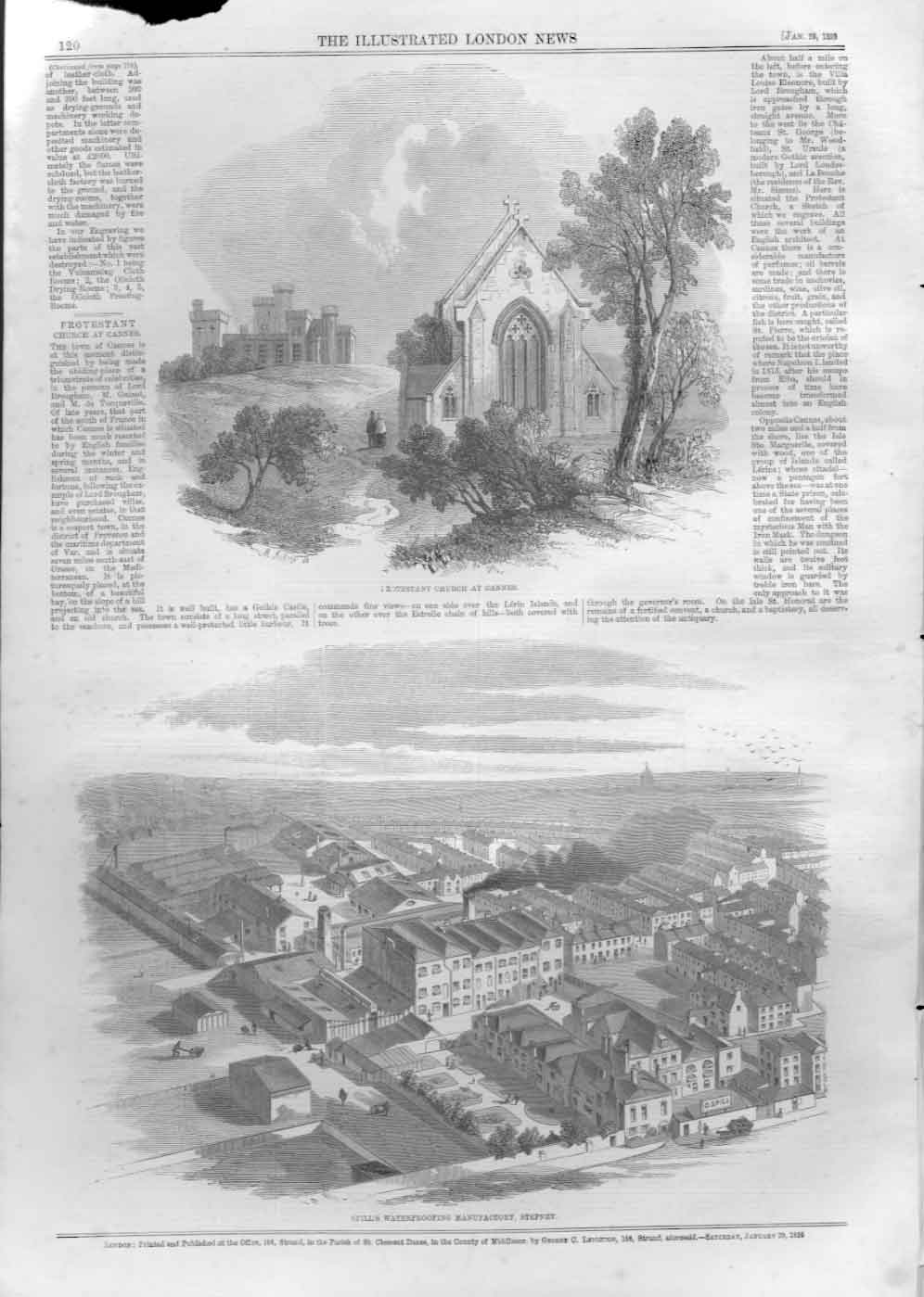 [Print Protestant Church Cannes Spills Factory Stephney 185 1A20A476 Old Original]