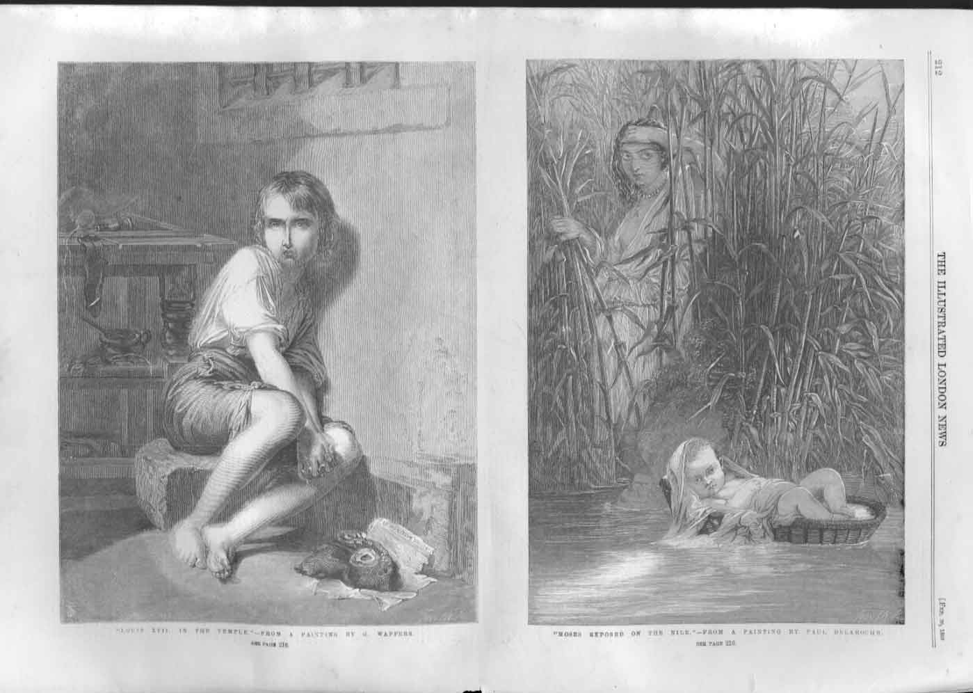 [Print Louis Xvii In Temple Moses Exposed On Nile Fine Art A21Aa476 Old Original]