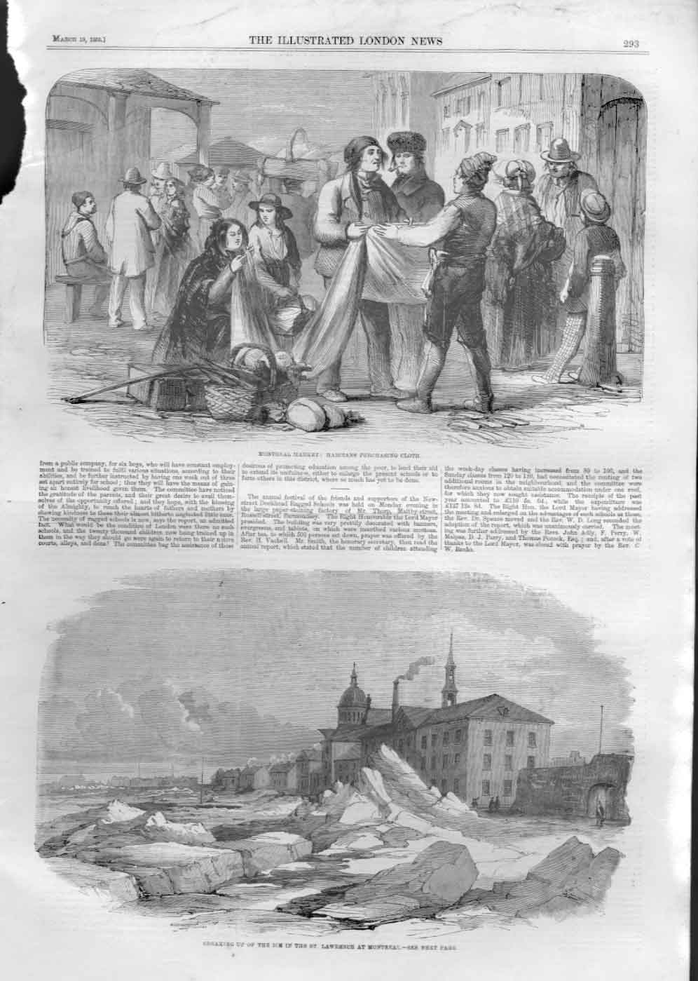 [Print Montreal Market Ice On St Lawerence Canada 1859 A29Aa476 Old Original]