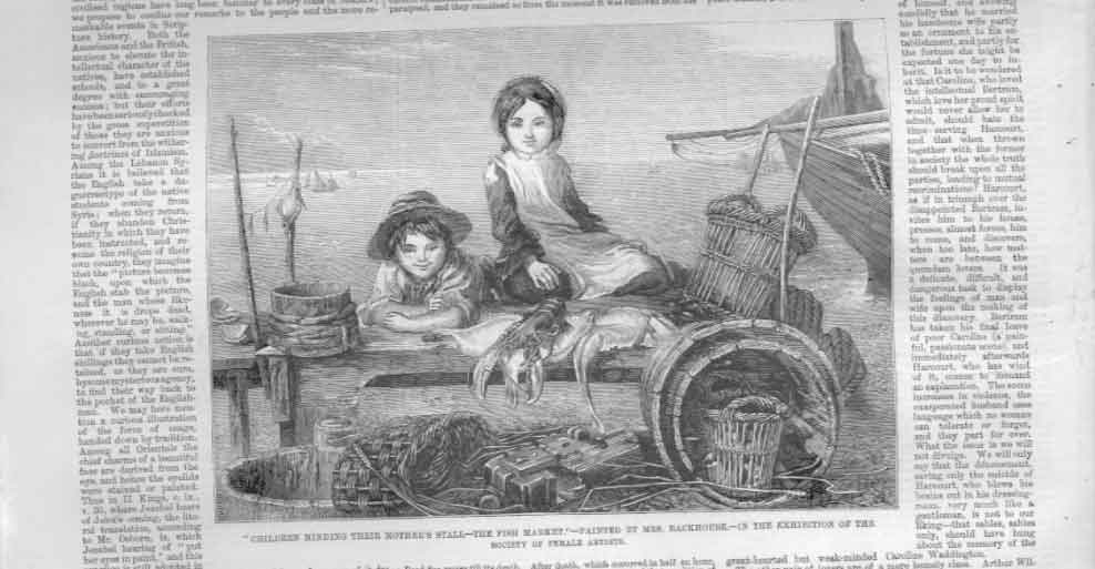 [Print Children Minding Mothers Stall By Mrs Backhouse 1859 A308A476 Old Original]