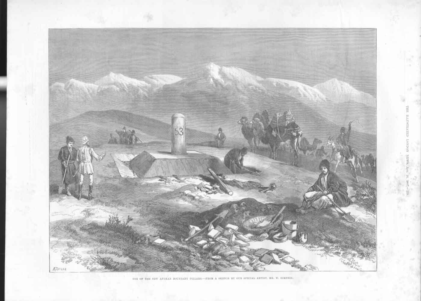 [Print *53 New Afghan Boundry Pillar 1887 A219A476 Old Original]