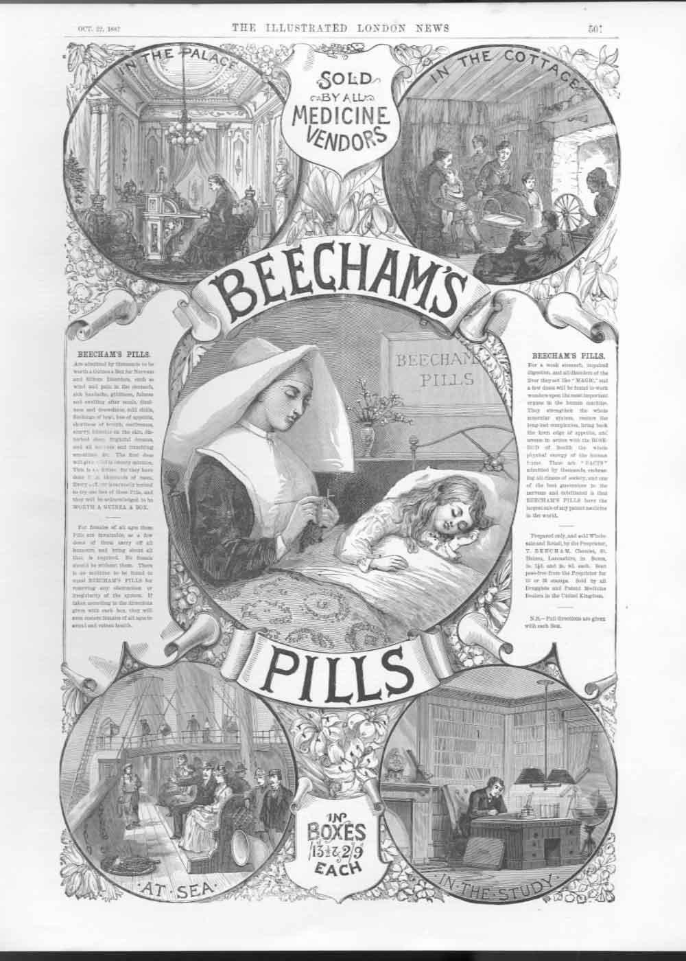 [Print Advert Beecham Pills In Convent Hospital 1887 501A476 Old Original]
