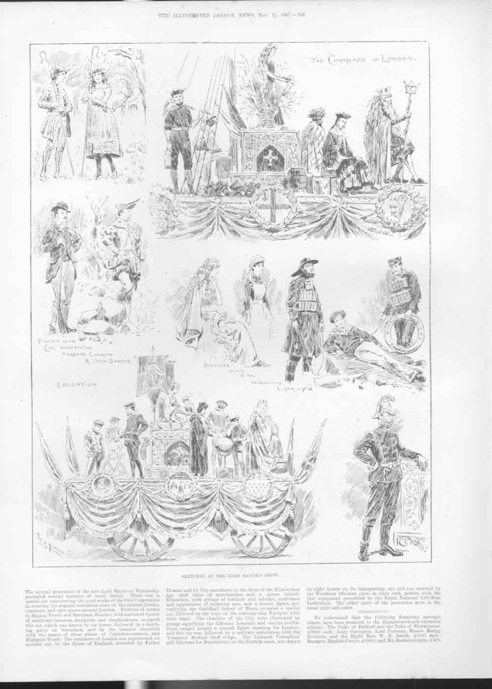[Print The Commerce London Lord Mayors Show 1887 558A476 Old Original]