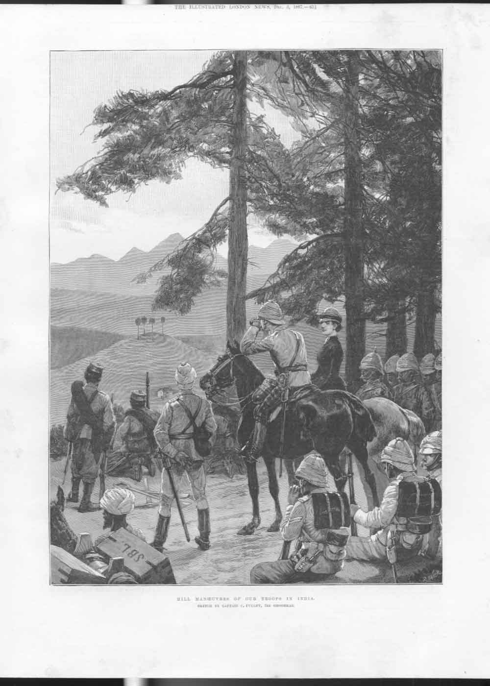 [Print Hill Manoeuvers Our Troops India 1887 651A476 Old Original]