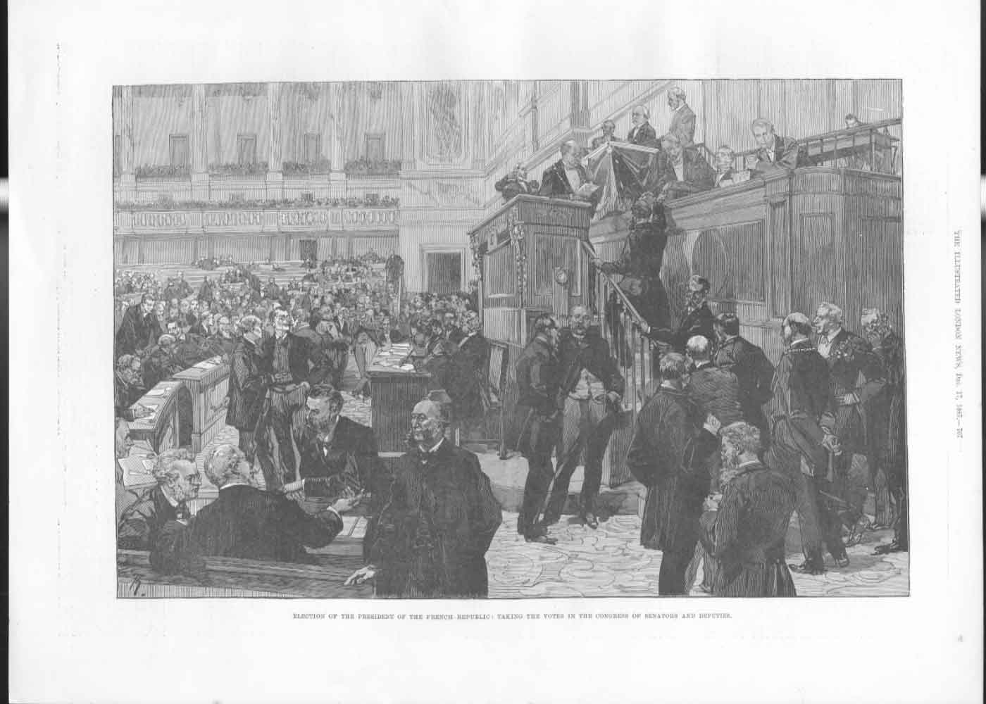 [Print Electing French President Taking Votes In Congress 1877 707A476 Old Original]