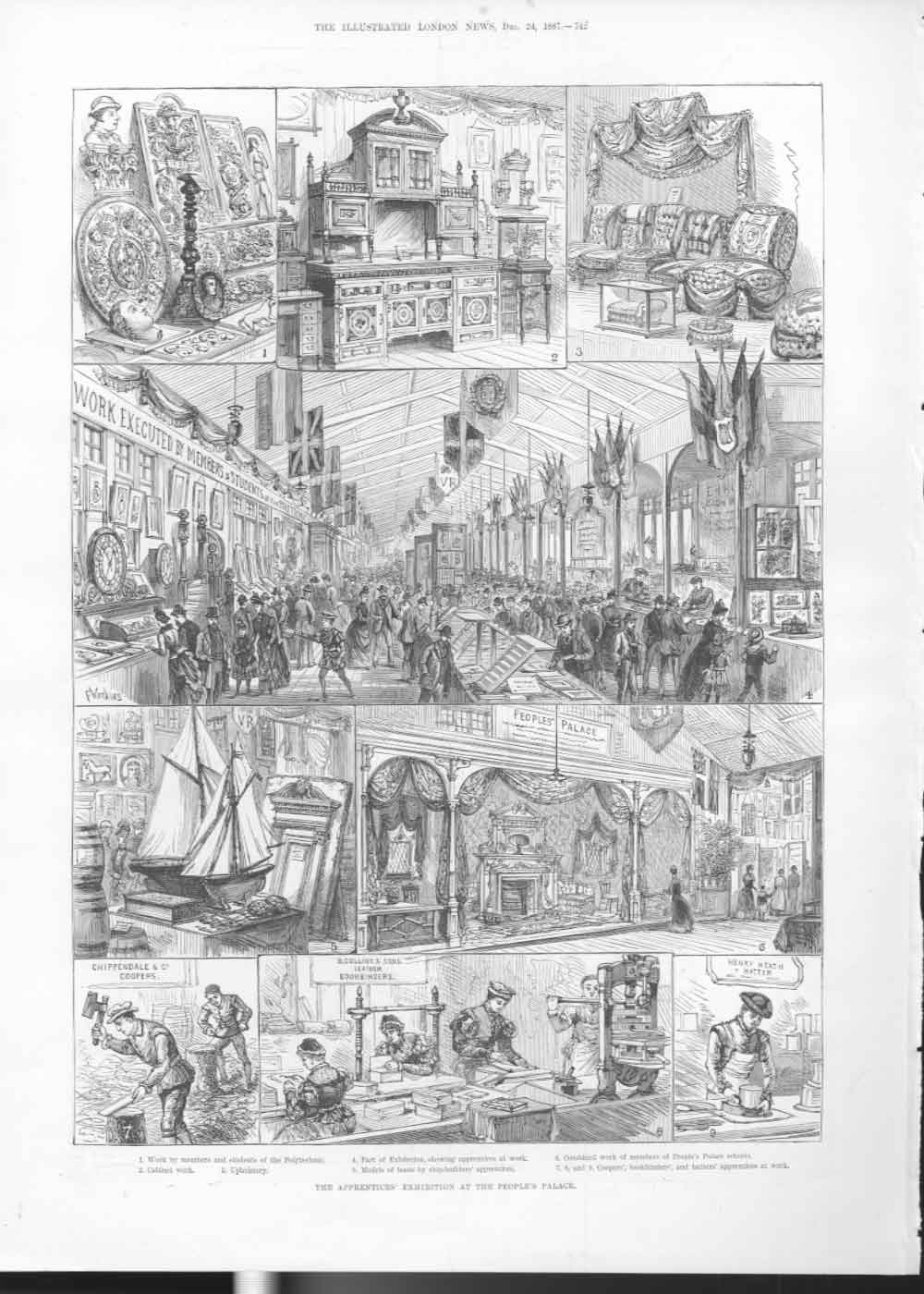 [Print The Apprentices Exhibition Peoples Palace 1887 74A2A476 Old Original]