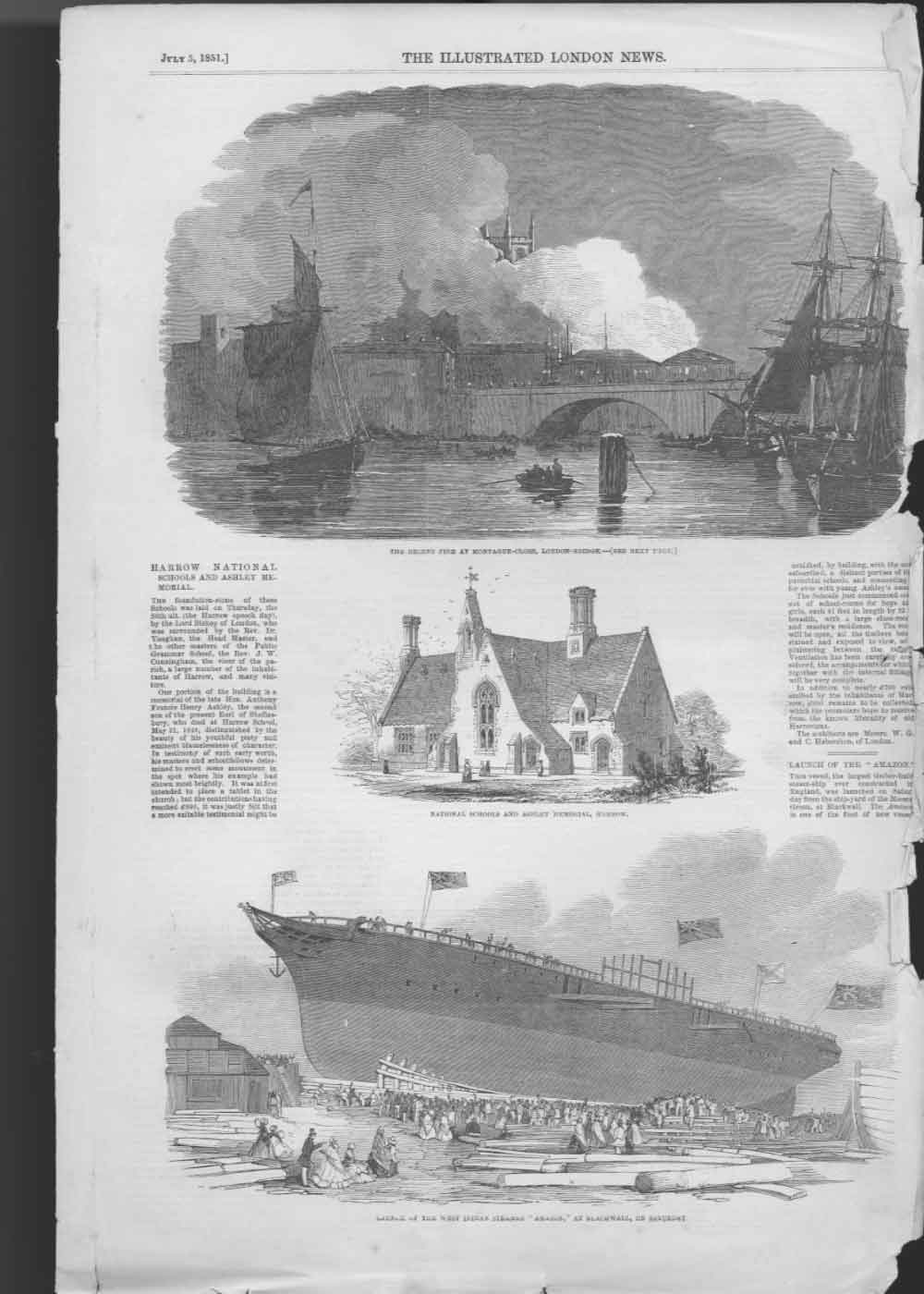 [Print Launch West Indian Steamer Amazon Fire London Bridge 005A476 Old Original]