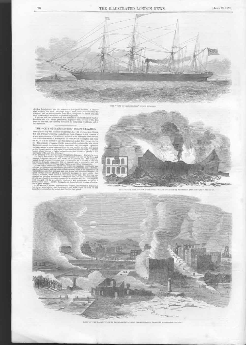 [Print Ss City Manchester Fire San Francisco Pacific Stree 076A476 Old Original]