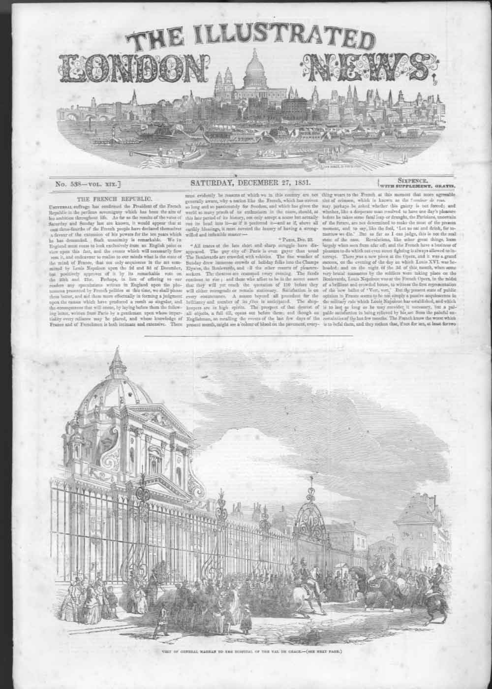 [Print Hospital Val De Grace Convent Paris 1851 176Aa476 Old Original]