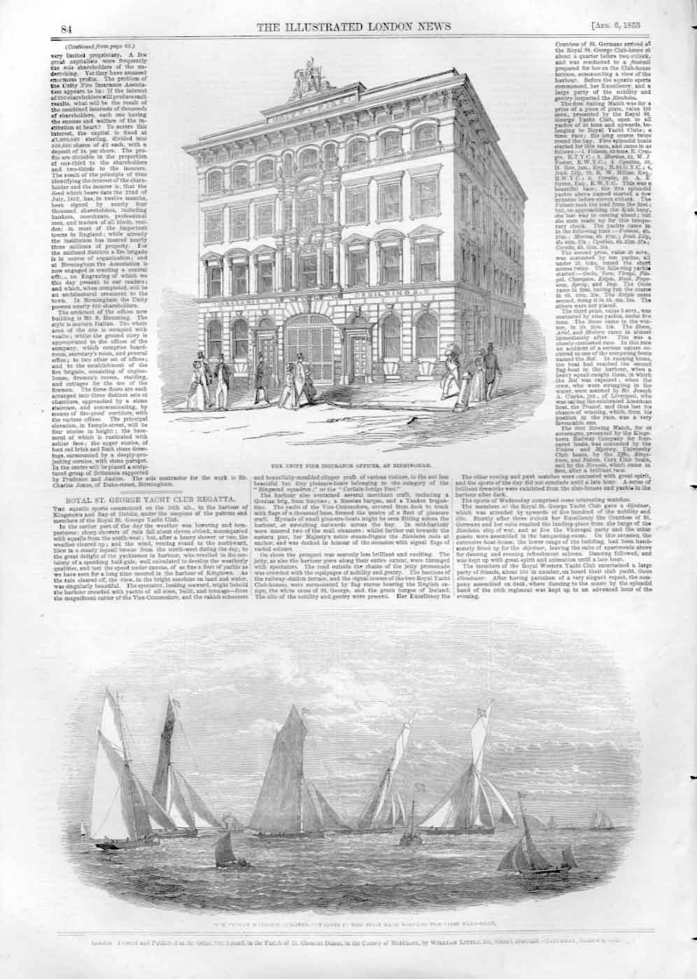 [Print Unity Fire Insurance Birmingham Dublin Bay Regatta 3084A476 Old Original]