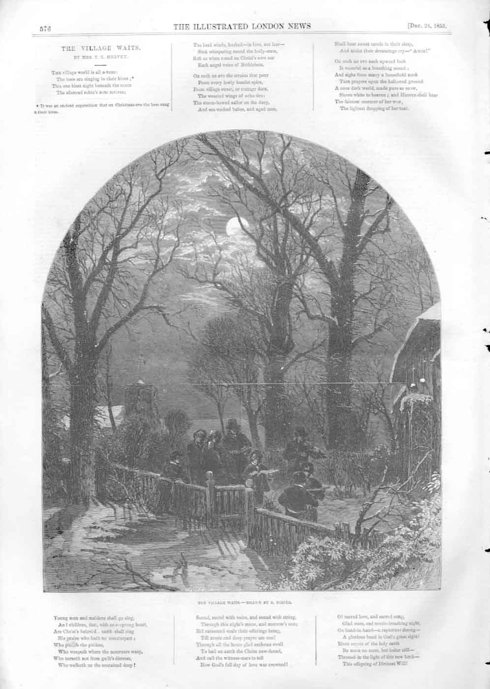 [Print The Village Waits By Birket Foster 1853 3576A476 Old Original]