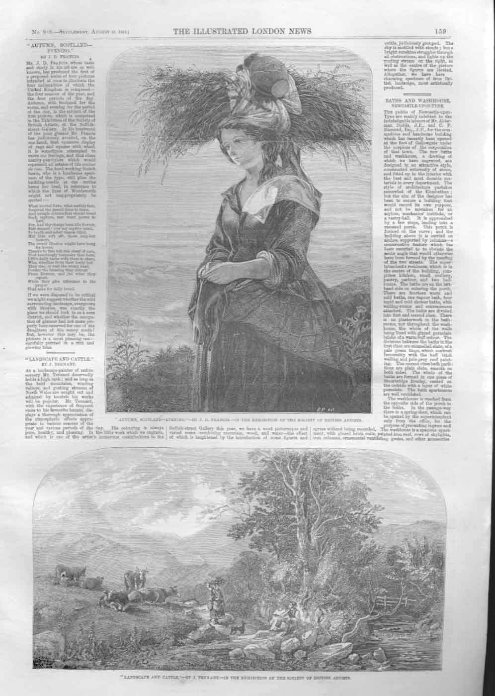 [Print Autumn Scotland By Francis Landscape By Tennent 1859 159A476 Old Original]