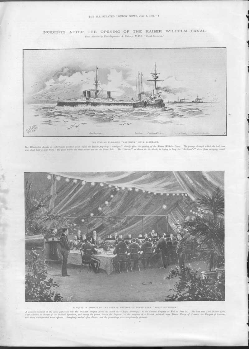 [Print After Opening Kaiser Wilhelm Canal 1895 004A476 Old Original]