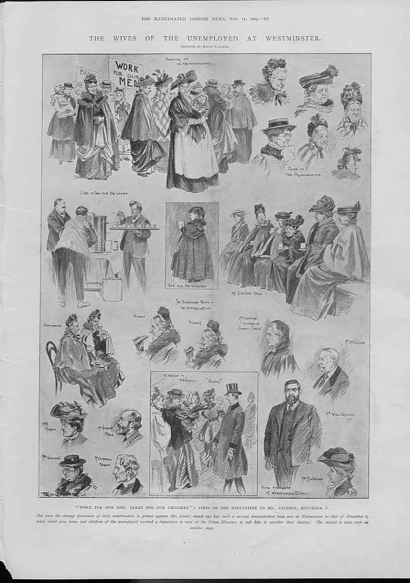 [Print Wives The Unemployed At Westminister 677A476 Old Original]