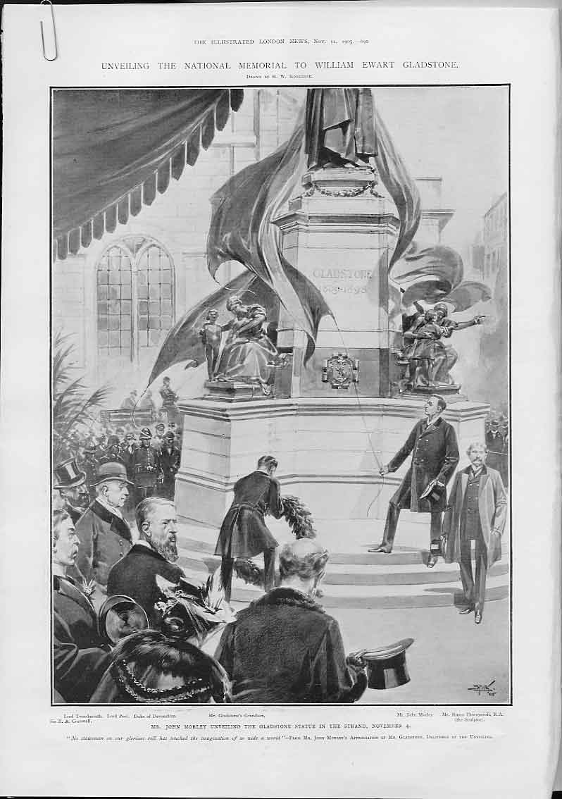 [Print Unveiling Memorial To Gladstone 1905 690Aa476 Old Original]