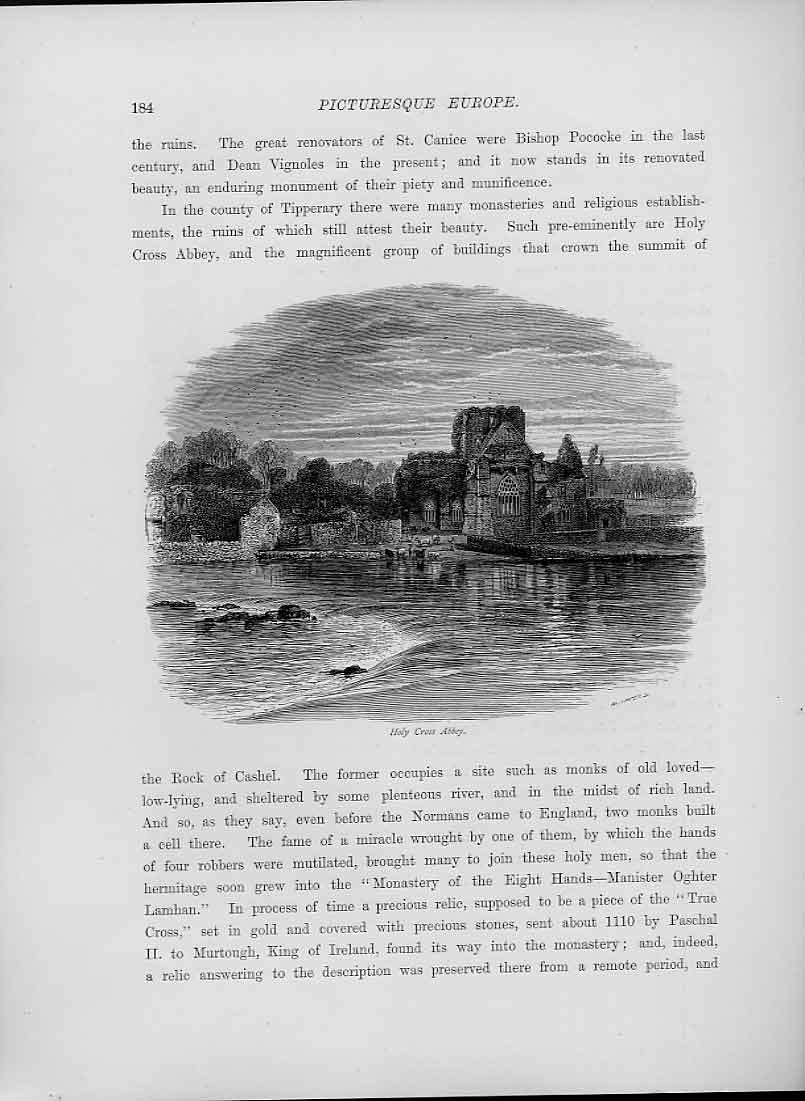 [Print Holy Cross Abbey S C1880 Ireland 96A5201 Old Original]