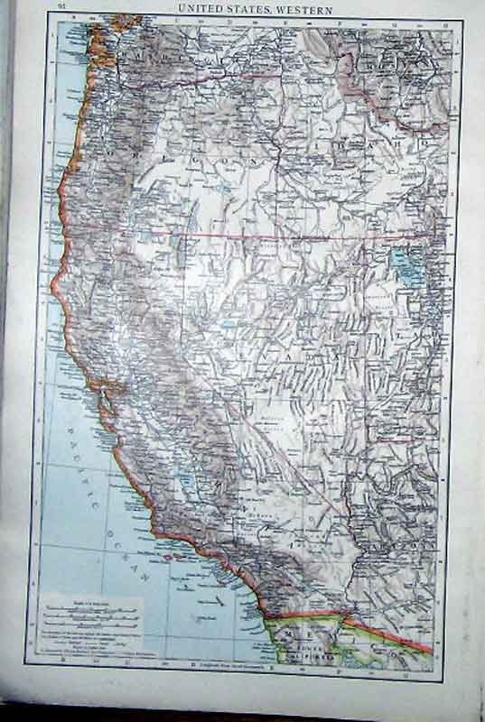 [Print United States America Western Map 1898 96A5321 Old Original]