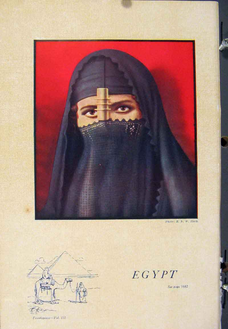 [Vintage Print Egypt Portrait Lady Photo Color C1922 Art 82A5359 ]