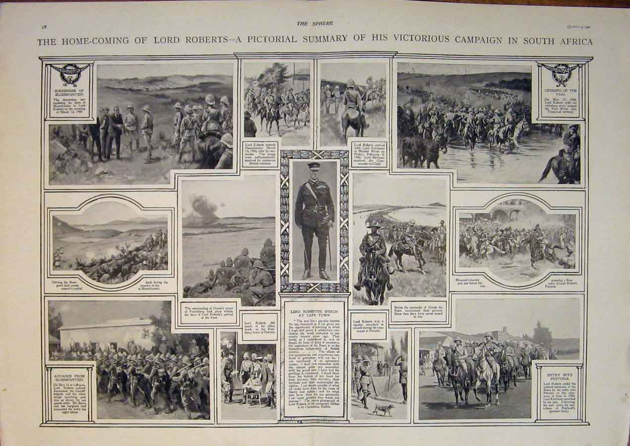 [Print Roberts Return South Africa Campaign Cape Town 1901 15T5400 Old Original]